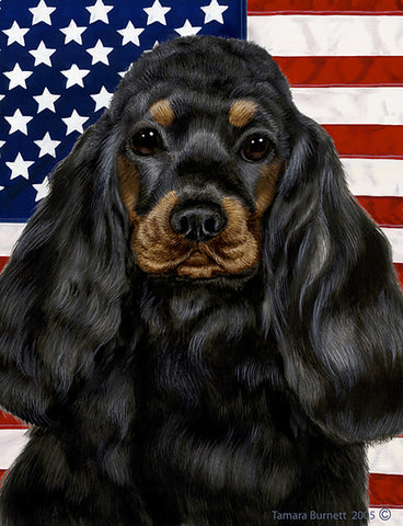 "Cocker Spaniel Black/Tan - Best of Breed Patriotic II Garden Flag 12"" x 17"""