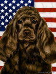 "Cocker Spaniel Chocolate - Best of Breed Patriotic II Garden Flag 12"" x 17"""