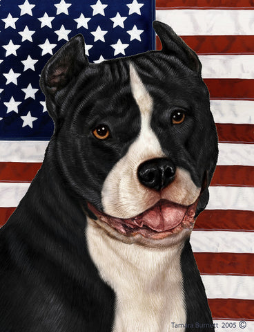 American Pit Bull Black/White - Best of Breed Patriotic II Outdoor Flag
