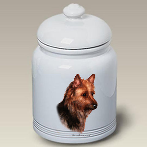Australian Terrier - Best of Breed Stoneware Ceramic  Doggie Treat Jar