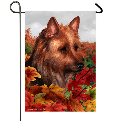 Australian Terrier - Best of Breed Fall Leaves Outdoor Flag