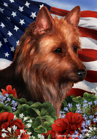 Australian Terrier - Best of Breed Patriotic I Outdoor Flag