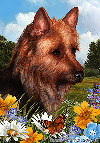 Australian Terrier - Best of Breed Summer Flowers Outdoor Flag