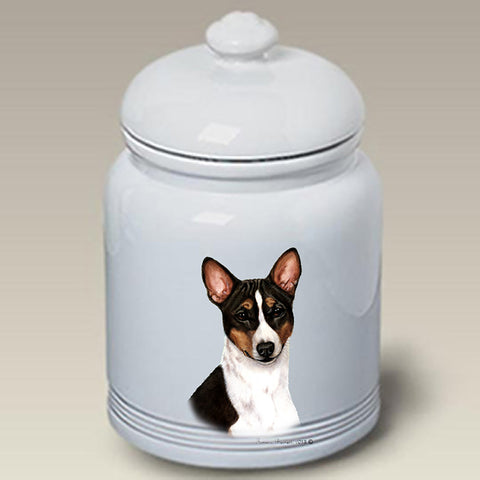 Basenji Tri  - Best of Breed Stoneware Ceramic  Doggie Treat Jar
