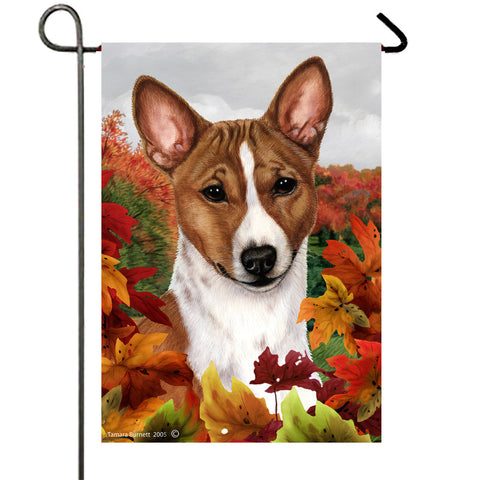 Basenji Red and White  - Best of Breed Fall Leaves Outdoor Flag