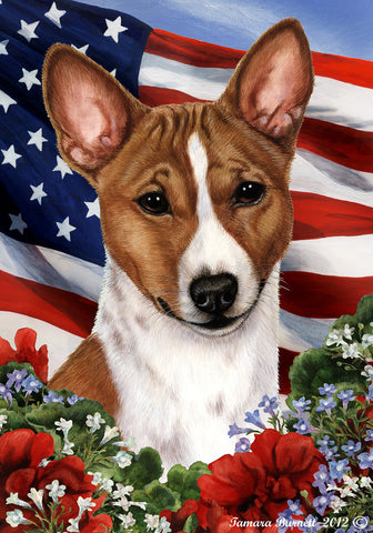 Basenji Red and White  - Best of Breed Patriotic I Outdoor Flag