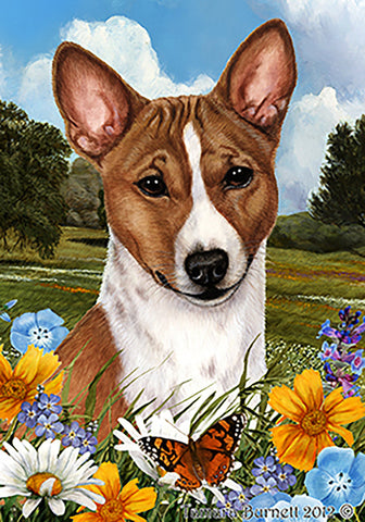 Basenji Red and White  - Best of Breed Summer Flowers Outdoor Flag