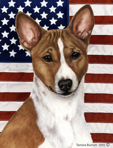 Basenji Red and White  - Best of Breed Patriotic II Outdoor Flag