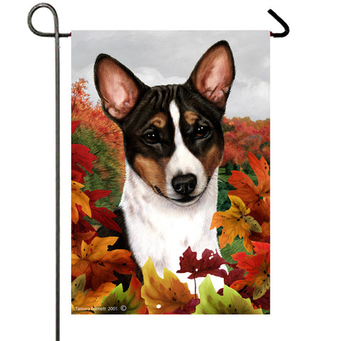 Basenji Tri  - Best of Breed Fall Leaves Outdoor Flag