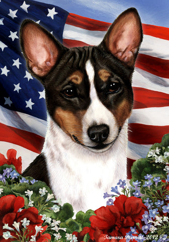 Basenji Tri  - Best of Breed Patriotic I Outdoor Flag