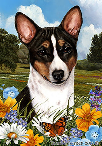 Basenji Tri  - Best of Breed Summer Flowers Outdoor Flag