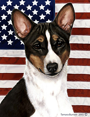 Basenji Tri  - Best of Breed Patriotic II Outdoor Flag