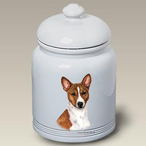 Basenji Red and White  - Best of Breed Stoneware Ceramic  Doggie Treat Jar