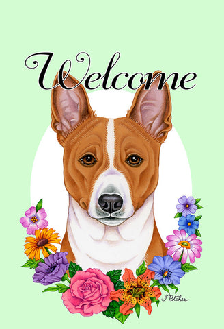 Basenji  - Best of Breed Welcome Flowers Outdoor Flag