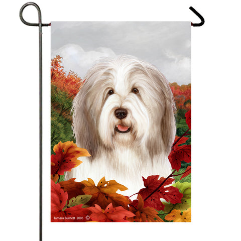 Bearded Collie Fawn/White - Best of Breed Fall Leaves Outdoor Flag