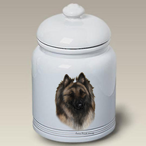 Belgian Tervuren - Best of Breed Stoneware Ceramic  Doggie Treat Jar