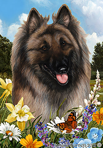 Belgian Tervuren - Best of Breed Summer Flowers Outdoor Flag