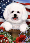 Bichon Frise 2 - Best of Breed Patriotic I Outdoor Flag