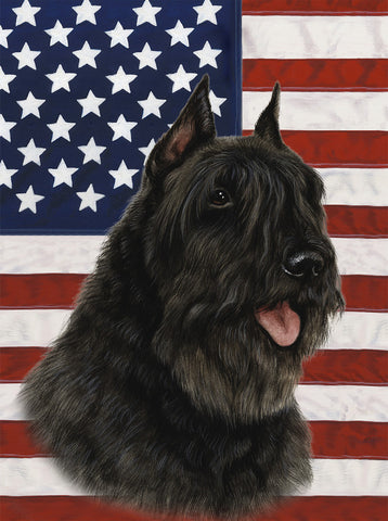 Bouvier Black - Best of Breed Patriotic II Outdoor Flag