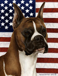 Boxer Fawn Cropped - Best of Breed Patriotic II Outdoor Flag
