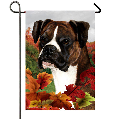 Boxer Brindle Uncropped - Best of Breed Fall Leaves Outdoor Flag