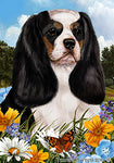 "Cavalier King Charles Tri - Best of Breed Summer Flowers Garden Flag 12"" x 17"""