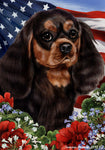 "Cavalier King Charles Black/Tan - Best of Breed Patriotic I Garden Flag 12"" x 17"""
