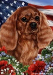 "Cavalier King Charles Ruby- Best of Breed Patriotic I Garden Flag 12"" x 17"""