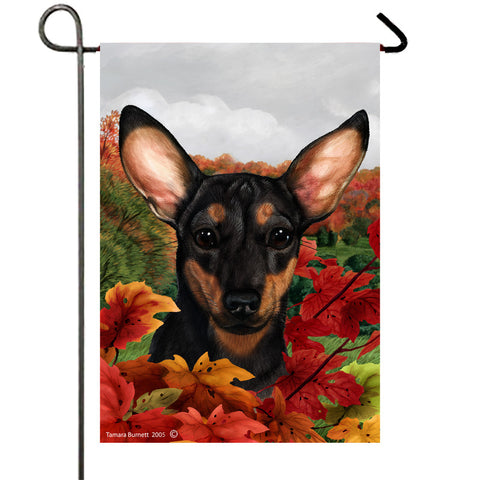 "Chiweenie Black - Best of Breed Fall Leaves Garden Flag 12"" x 17"""