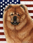 "Chow Chow Red - Best of Breed Patriotic II Garden Flag 12"" x 17"""