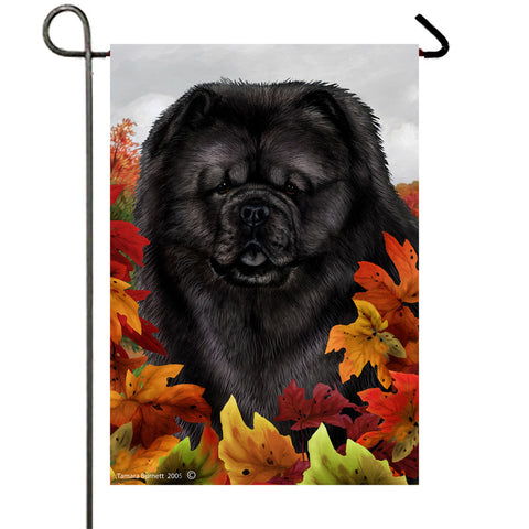 "Chow Chow Black - Best of Breed Fall Leaves Garden Flag 12"" x 17"""