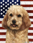 "Cockapoo Blonde - Best of Breed Patriotic II Garden Flag 12"" x 17"""