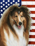 "Collie - Best of Breed Patriotic II Garden Flag 12"" x 17"""