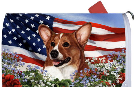 Corgi Red/White- Best of Breed Patriotic I Dog Breed Mail Box Cover
