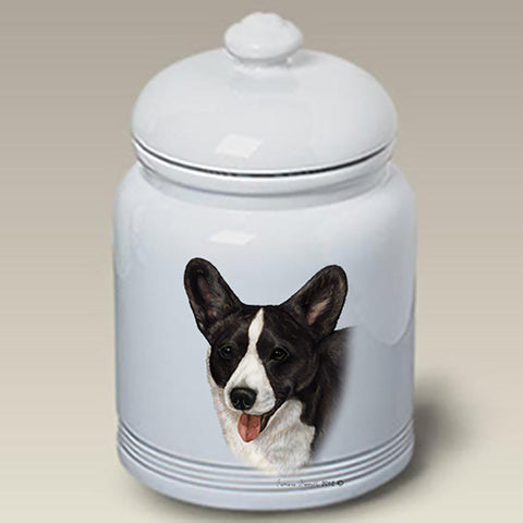 Corgi Cardigan Black Brindle - Best of Breed Stoneware Ceramic  Doggie Treat Jar