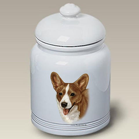 Corgi Cardigan Red/White - Best of Breed Stoneware Ceramic  Doggie Treat Jar