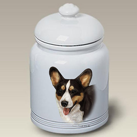 Corgi Cardigan Tri - Best of Breed Stoneware Ceramic  Doggie Treat Jar