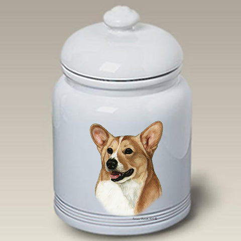 Corgi Pembroke Welsh Fawn/White - Best of Breed Stoneware Ceramic  Doggie Treat Jar