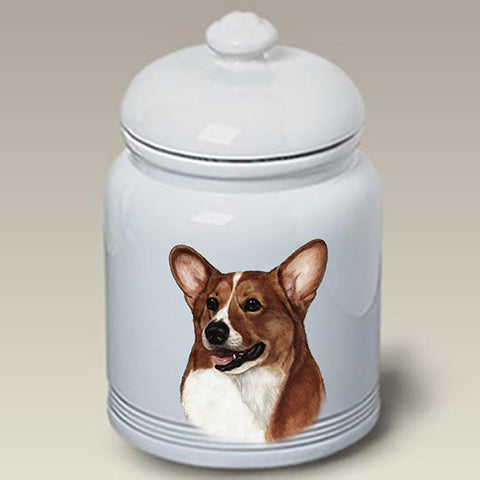 Corgi Pembroke Welsh Red/White  - Best of Breed Stoneware Ceramic  Doggie Treat Jar