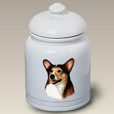 Corgi Pembroke Welsh Open Tri - Best of Breed Stoneware Ceramic  Doggie Treat Jar