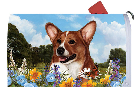 Corgi Red/White- Best of Breed Summer Flowers Dog Breed Mail Box Cover
