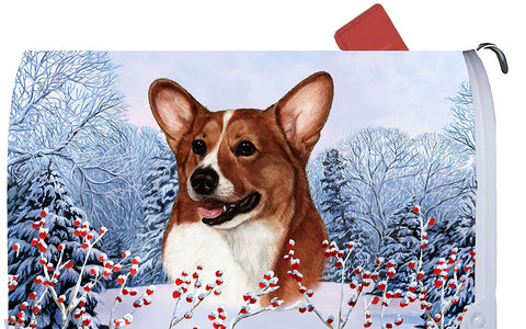 Corgi Red/White- Best of Breed Winter Berries Dog Breed Mail Box Cover