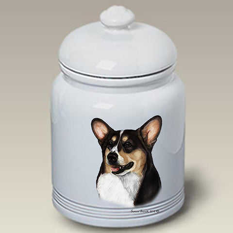 Corgi Pembroke Welsh Tri - Best of Breed Stoneware Ceramic  Doggie Treat Jar