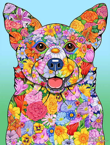 "Corgi Pembroke Welsh  - Best of Breed Flowers Garden Flag 12"" x 17"""