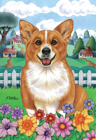 "Corgi Pembroke Welsh  - Best of Breed Spring Garden Flag 12"" x 17"""