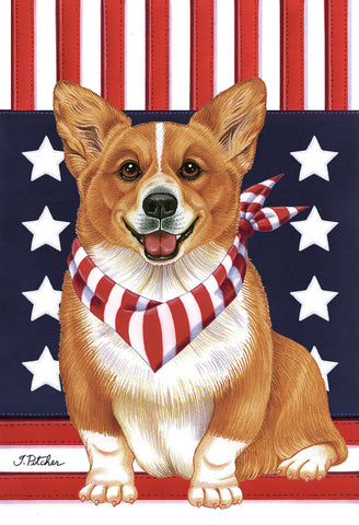 "Corgi Pembroke Welsh  - Best of Breed Patriot Garden Flag 12"" x 17"""