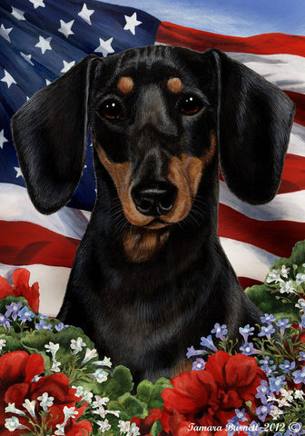 "Dachshund  B/T - Best of Breed Patriotic I Garden Flag 12"" x 17"""