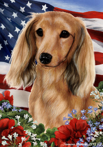 "Dachshund Longhaired Cream - Best of Breed Patriotic I Garden Flag 12"" x 17"""