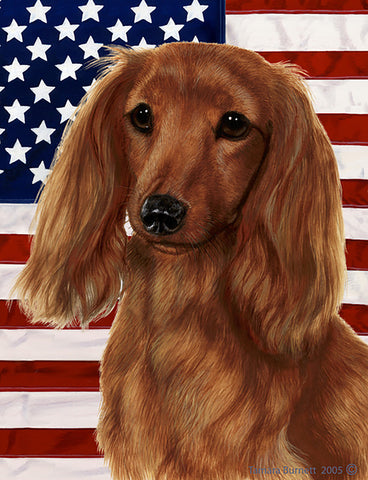 "Dachshund  Longhaired Red - Best of Breed Patriotic II Garden Flag 12"" x 17"""