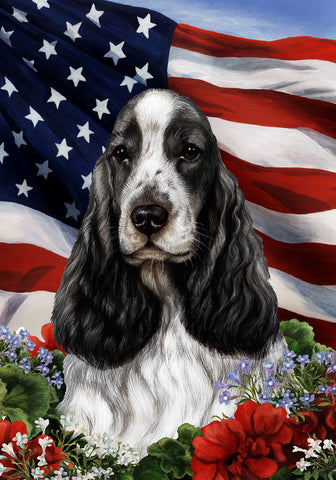"English Cocker Spaniel Black and White  - Best of Breed Patriotic I Garden Flag 12"" x 17"""